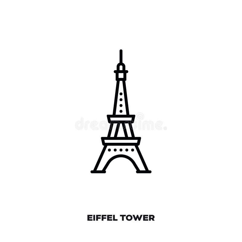Torre Eiffel na linha ícone do vetor de Paris ilustração do vetor