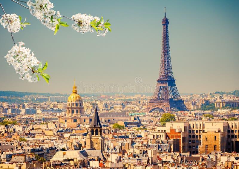 Torre Eiffel na mola fotografia de stock royalty free