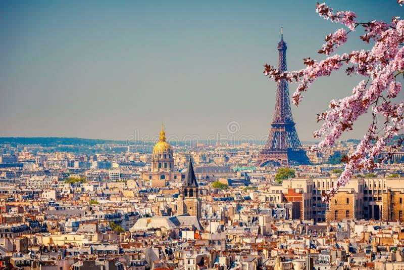 Torre Eiffel na mola fotografia de stock