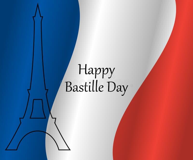 Torre Eiffel nas cores da bandeira francesa ilustração stock