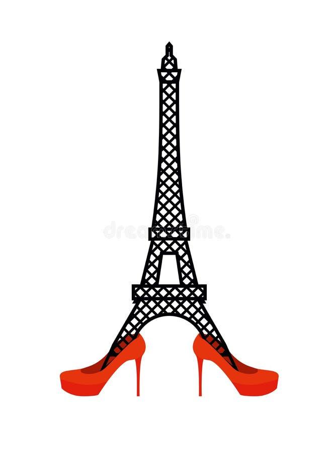 Torre Eiffel nas sapatas das mulheres vermelhas ilustração do vetor