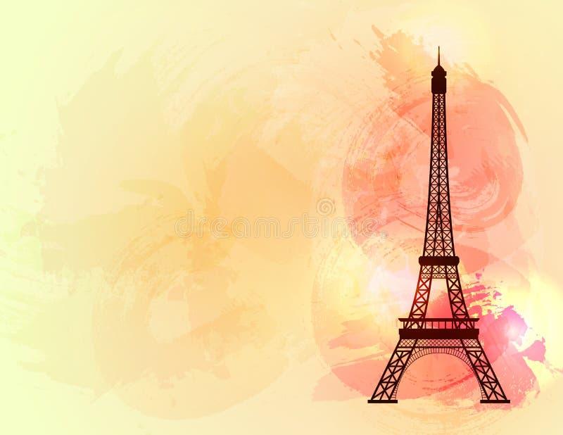 Torre Eiffel no fundo colorido ilustração do vetor