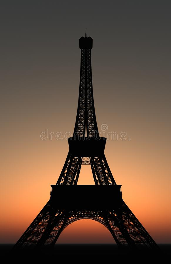 Torre Eiffel no por do sol fotos de stock royalty free
