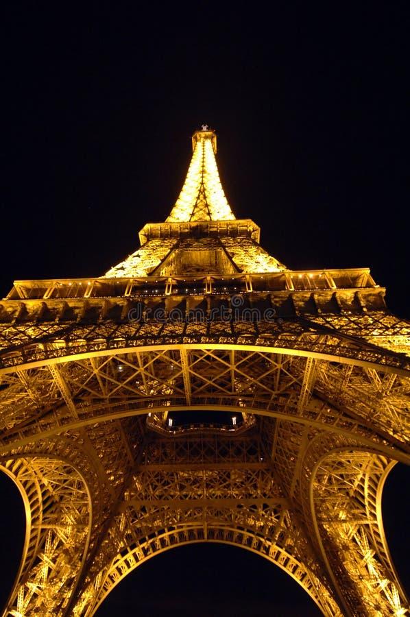 Torre Eiffel Paris France na noite foto de stock