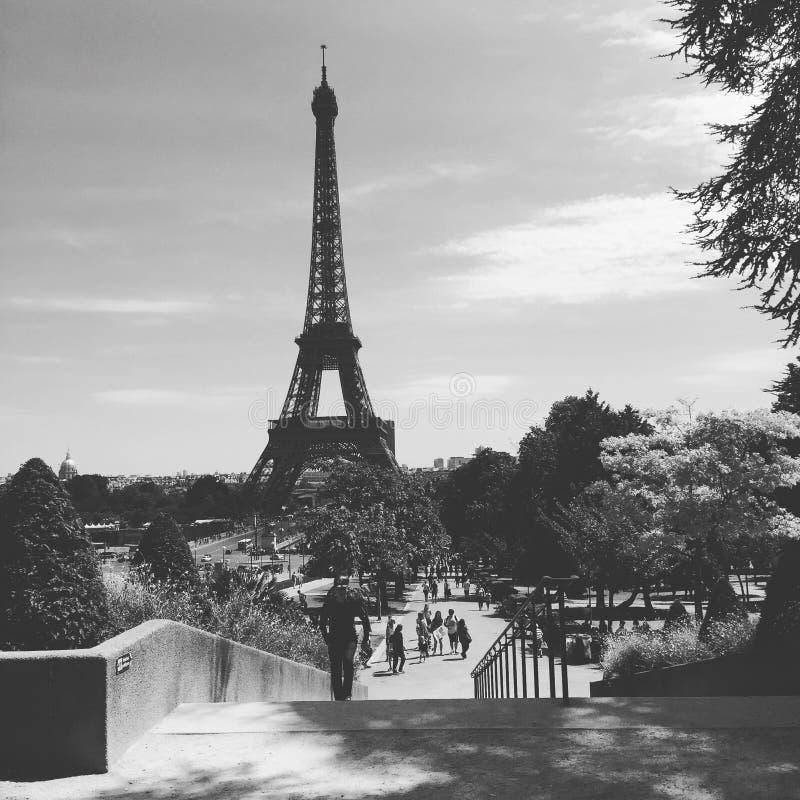 Torre Eiffel preto e branco imagens de stock royalty free