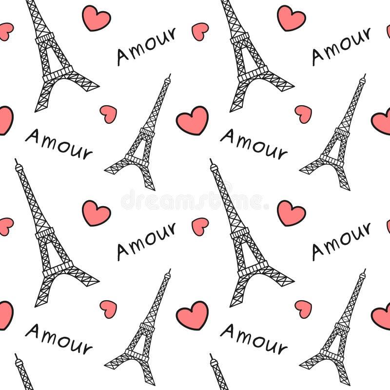 Torre Eiffel preto e branco com ilustração sem emenda romântica bonito do fundo do teste padrão dos corações vermelhos ilustração stock