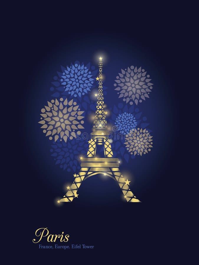 Torre Eiffel que brilla intensamente de oro del vector rodeada por los fuegos artificiales en la silueta de París en la noche par stock de ilustración