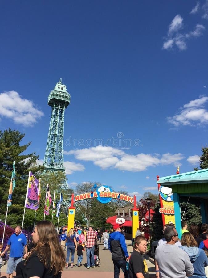 Torre Eiffel a re Island, con il segno Snoopy del pianeta fotografia stock