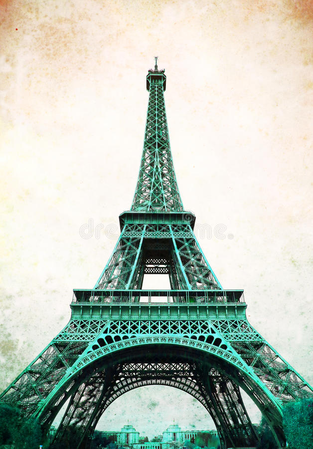 Torre Eiffel - retro cartolina disegnata fotografia stock libera da diritti