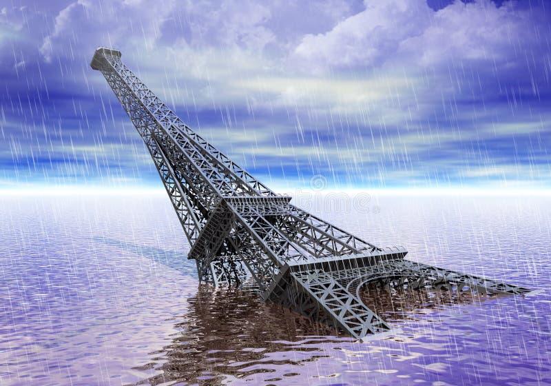 Torre Eiffel sob o conceito da inundação e das alterações climáticas da água ilustração royalty free