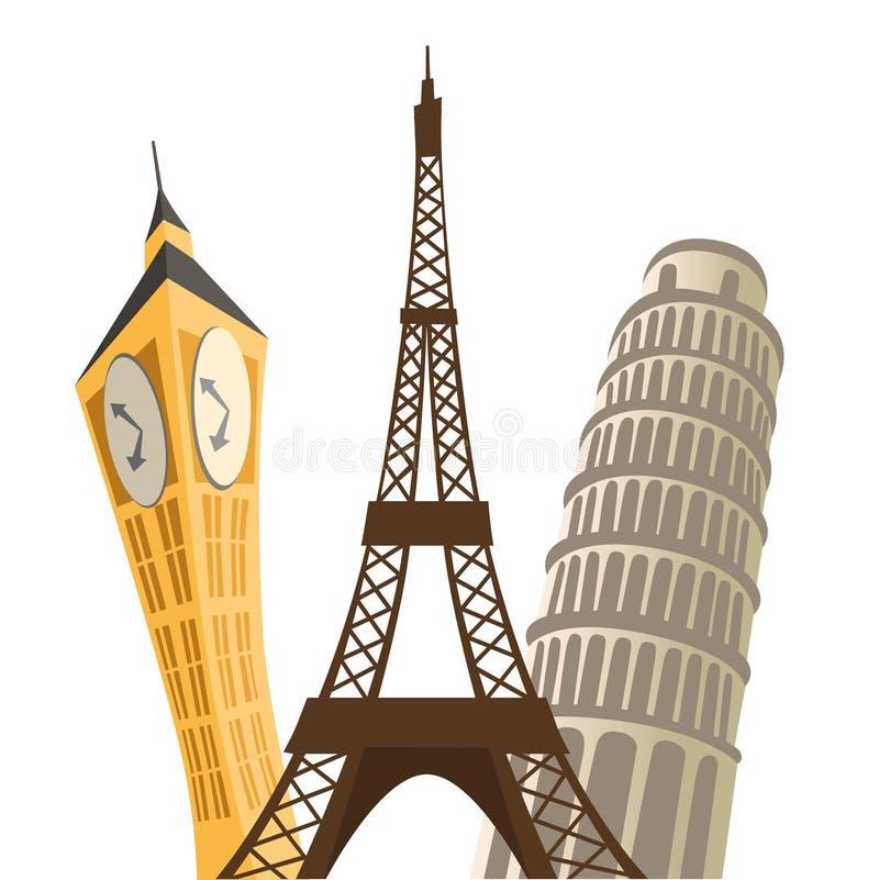Torre Eiffel, torretta di Pisa e grande divieto illustrazione vettoriale