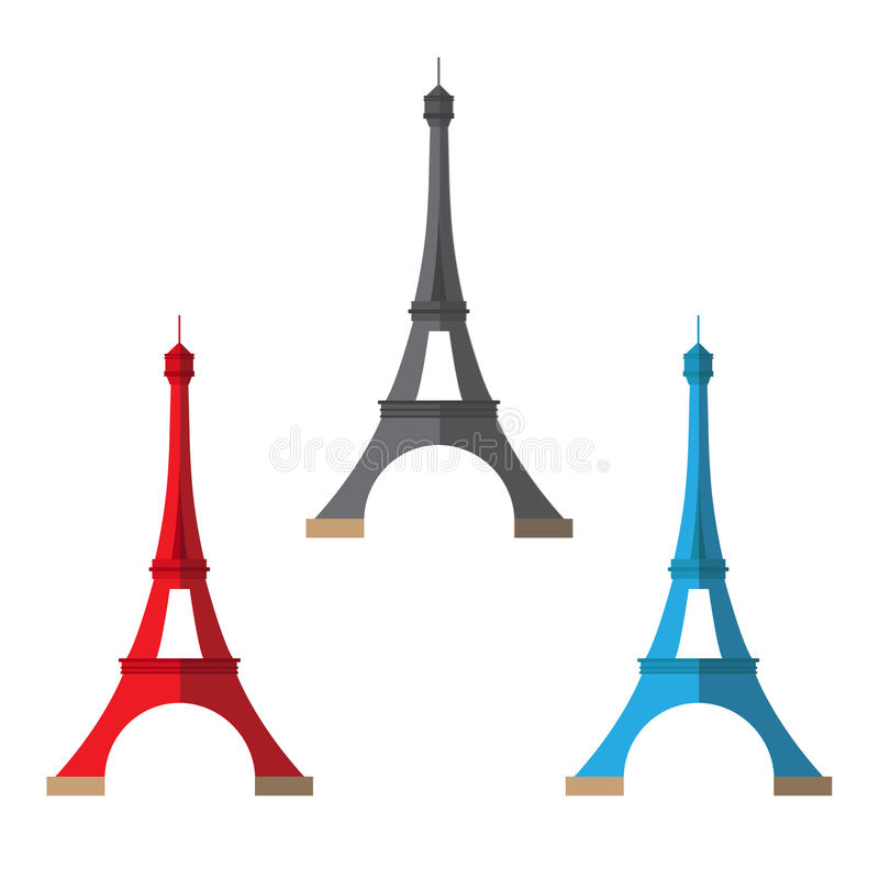 Torre Eiffel tres pintada en diversos colores ilustración del vector