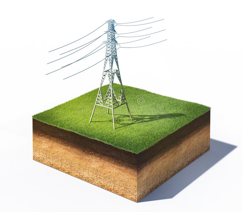 Torre elétrica de alta tensão ilustração royalty free