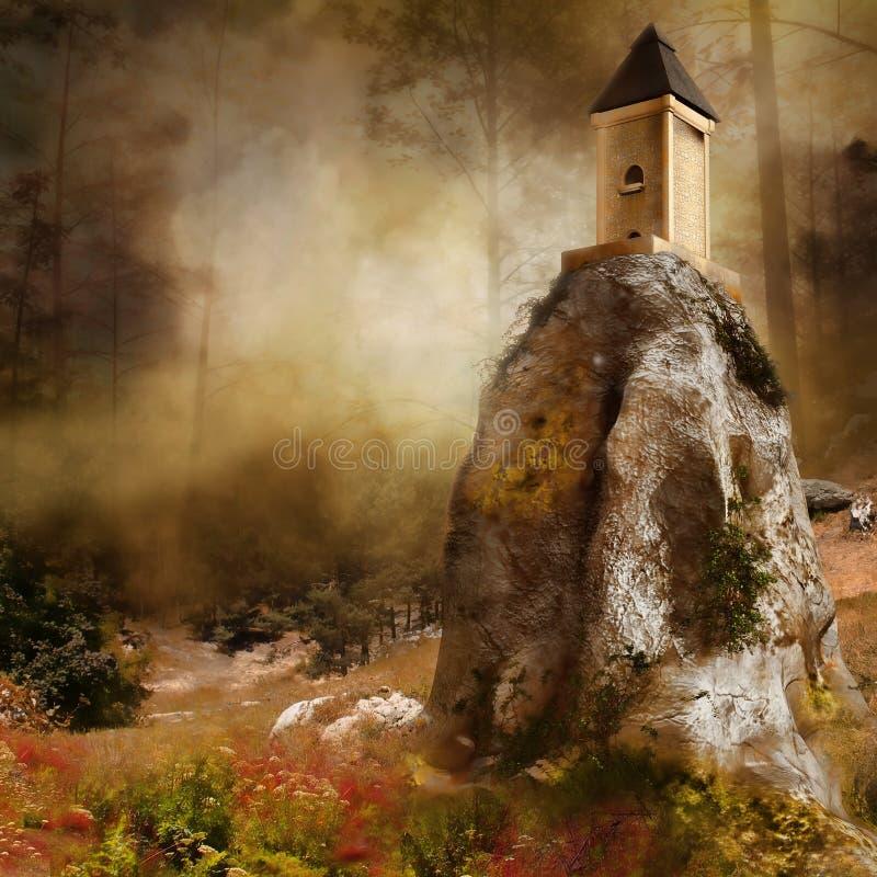 Torre em uma rocha ilustração do vetor