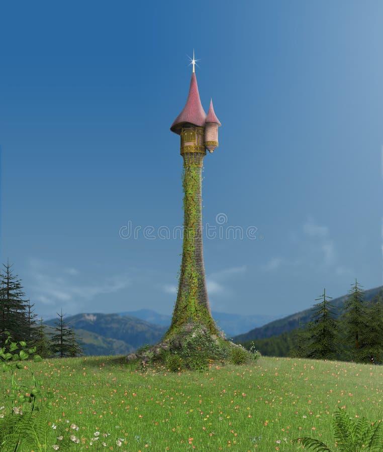 Torre encantada de Rapunzel en bosque ilustración del vector