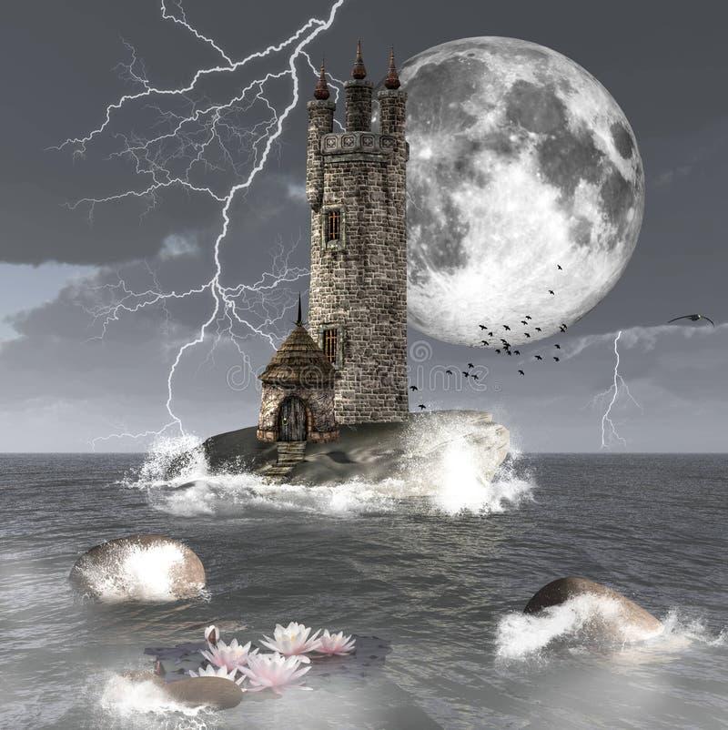 Torre escura ilustração stock