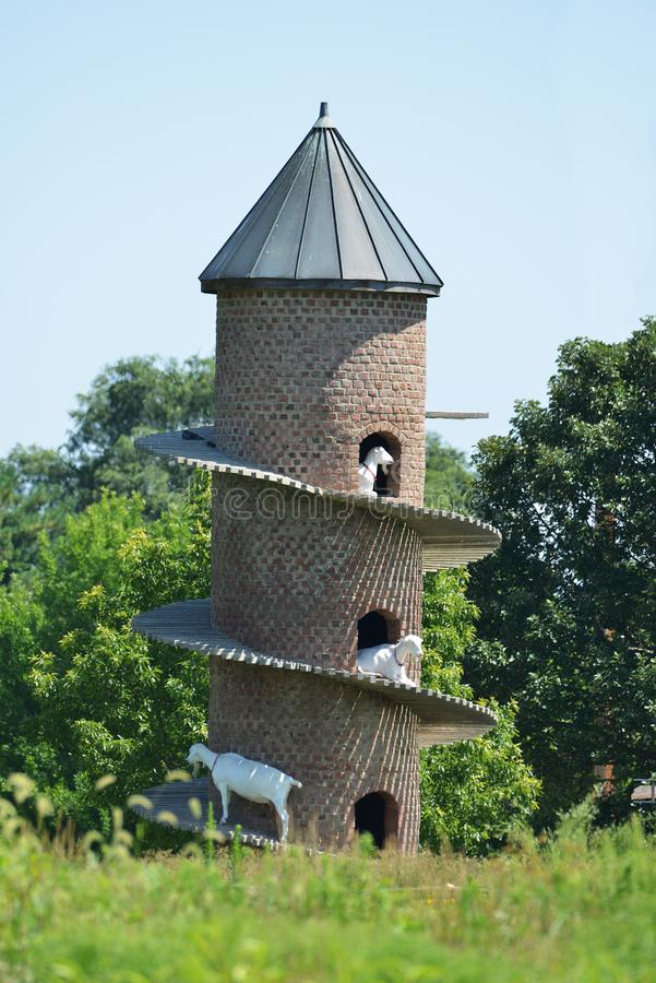 Torre espiral da cabra perto de Shelbyville, Illinois foto de stock royalty free