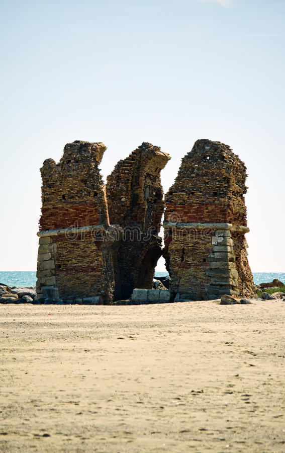 Torre Flavia. Ancient ruins of Flavia Tower in Ladispoli, Italy stock photo
