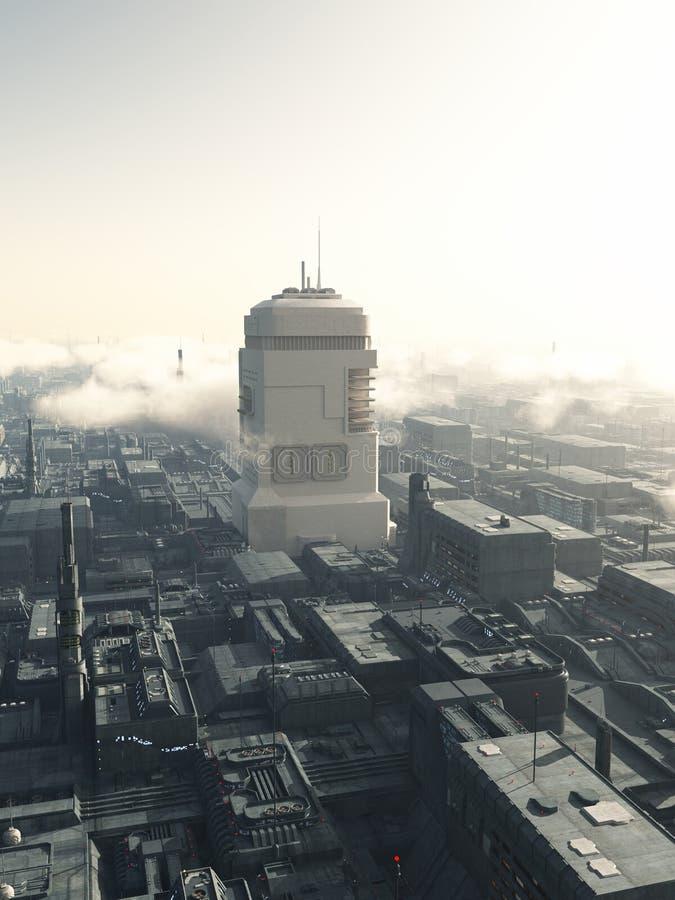 Torre futura della città illustrazione vettoriale