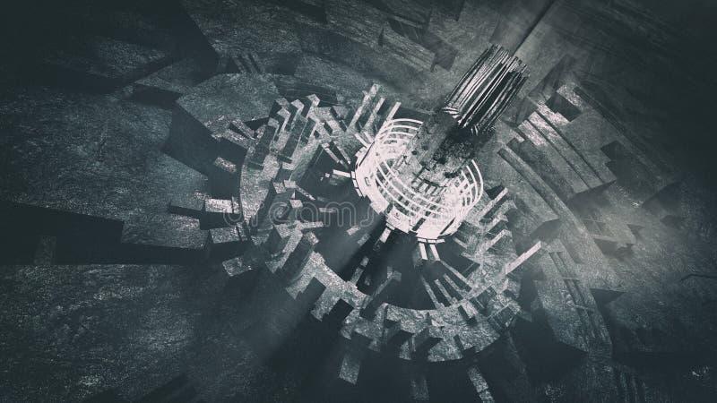 Torre futurista del centro de ciudad ilustración del vector
