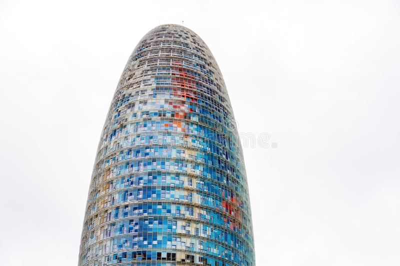 The Torre Glories, formerly known as Torre Agbar in a beautiful autumn light in Barcelona, Spain royalty free stock photo