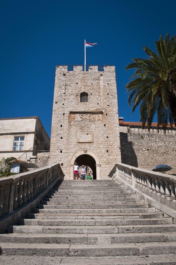 Torre grande de Revelin, ciudad vieja, Korcula, Croacia fotografía de archivo