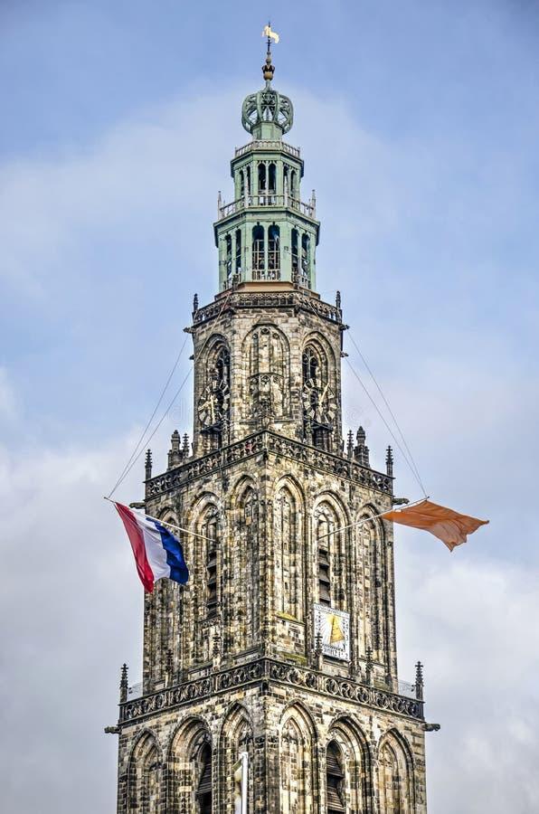 Torre Groningen Martini con bandiere immagini stock