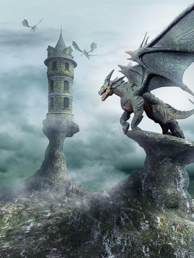 Torre guardada por dragões ilustração royalty free