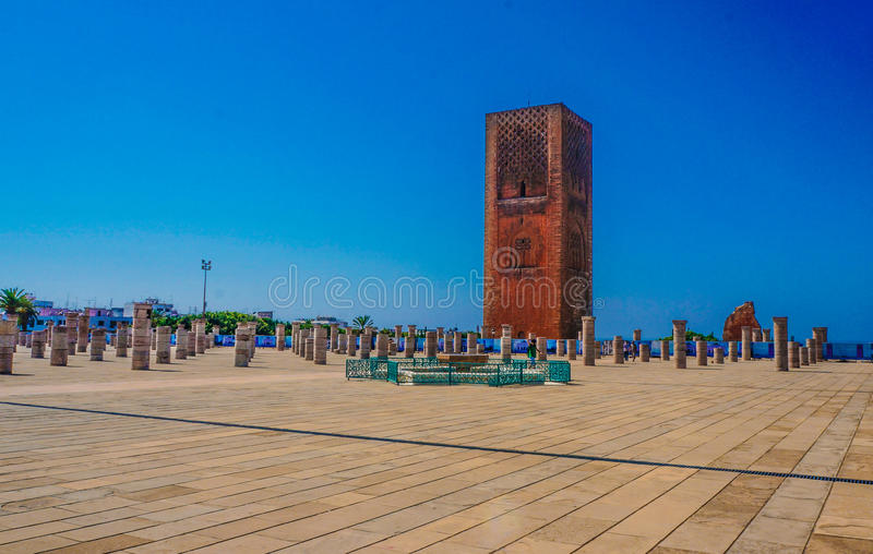 Torre hassan um Marrocos rabal fotos de stock royalty free