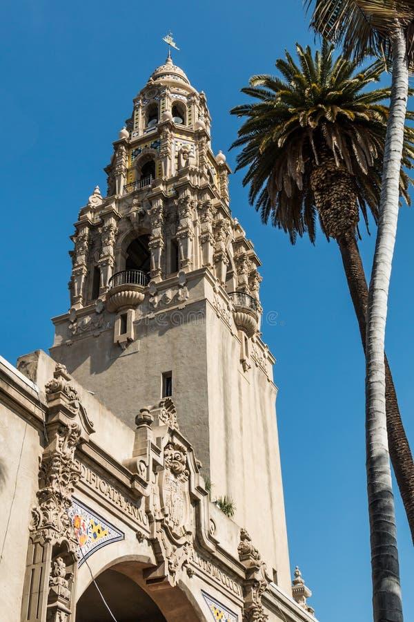 Torre histórica de California en parque del balboa foto de archivo