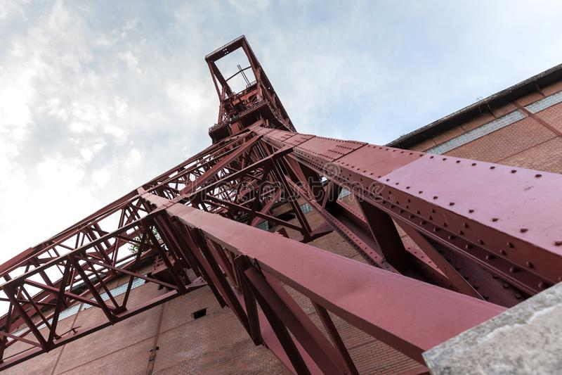 Torre histórica Gelsenkirchen Alemania de la explotación minera imagen de archivo libre de regalías