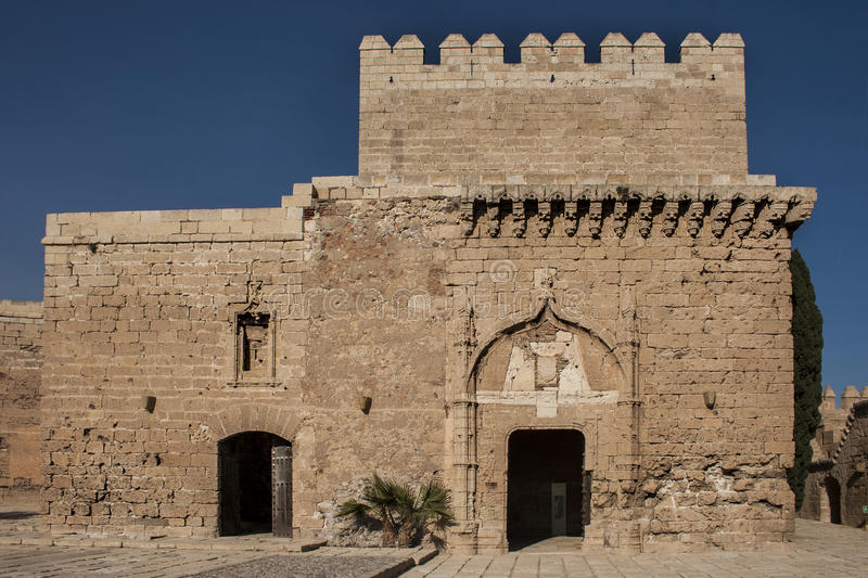 Torre Homenaje. The fortress (from the Arabic al- kasbah القصبة ' citadel ' ) is a fortified building or urban character royalty free stock images