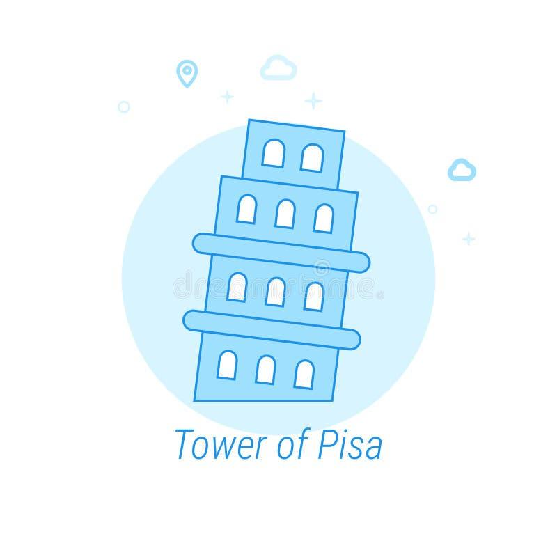 Torre illustrazione piana di vettore di Pisa, Italia, icona Progettazione monocromatica blu-chiaro Colpo editabile illustrazione di stock