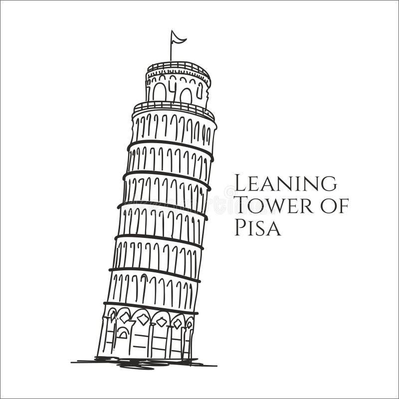 Torre inclinada da ilustração do vetor do esboço de pisa ilustração do vetor