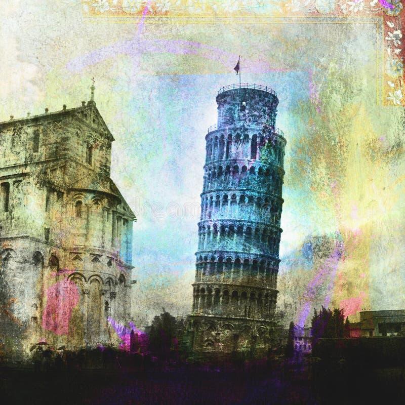 Torre inclinada de Pisa stock de ilustración