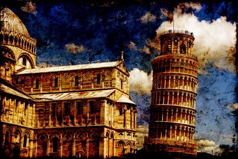 Torre inclinada de Pisa em um fundo textured imagem de stock