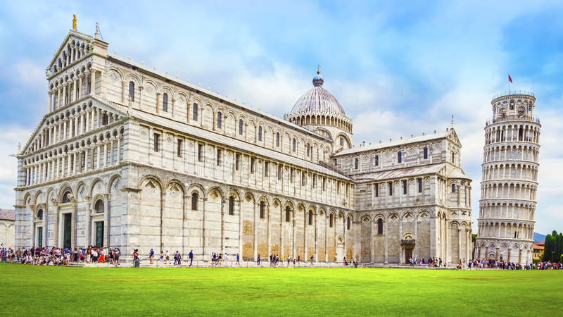 Torre inclinada de Pisa, Itália fotografia de stock