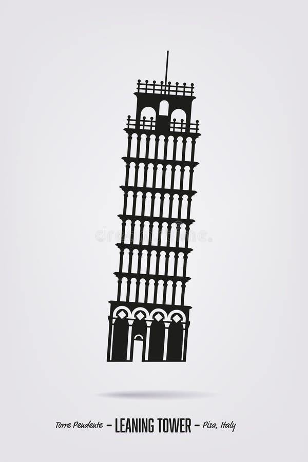 Torre inclinada del cartel de la silueta del vector de Pisa ilustración del vector