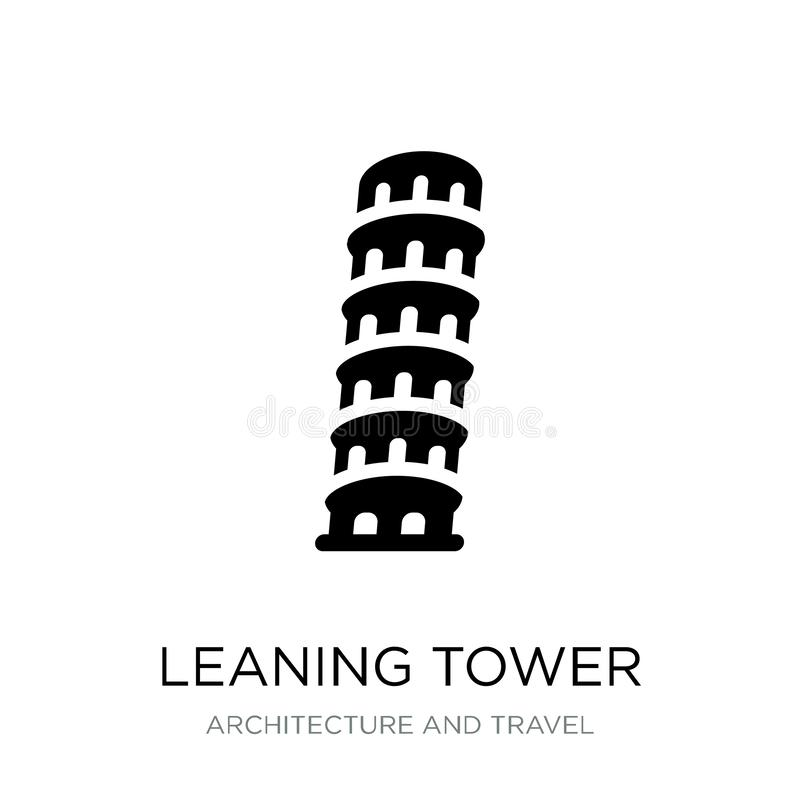 torre inclinada del icono de Pisa en estilo de moda del diseño Torre inclinada del icono de Pisa aislada en el fondo blanco Torre ilustración del vector