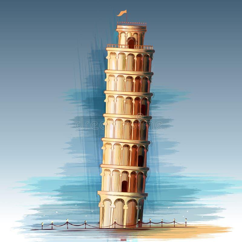 Torre inclinada del monumento histórico famoso de Pisa de Italia stock de ilustración