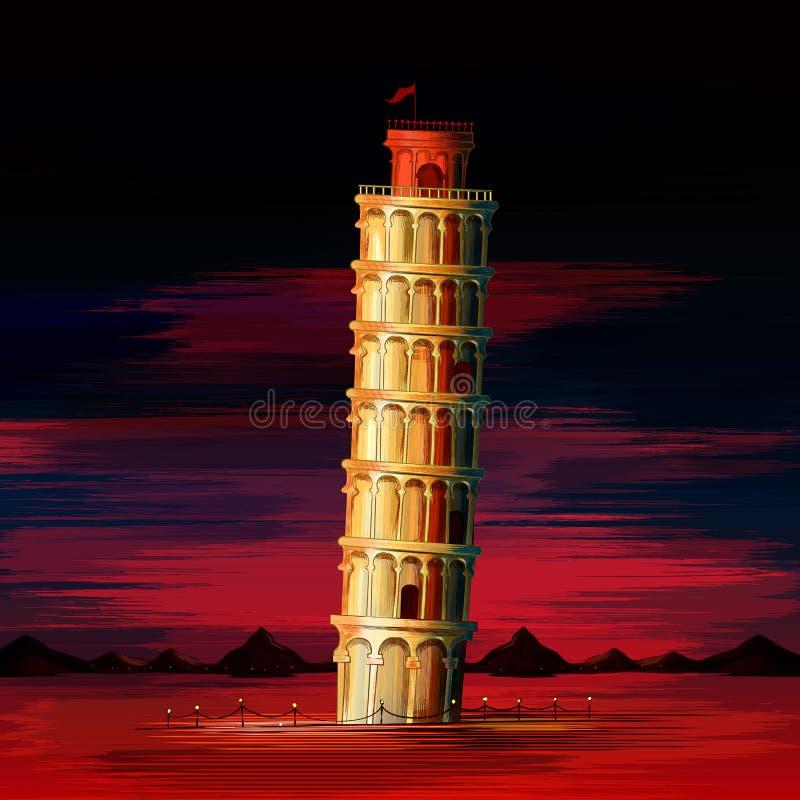 Torre inclinada do monumento histórico mundialmente famoso de Pisa de Itália ilustração royalty free