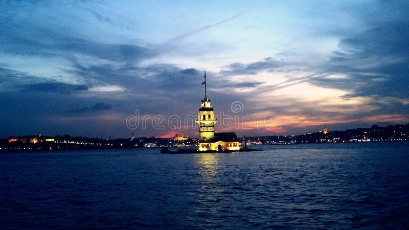 Torre Istambul Turquia da donzela fotografia de stock