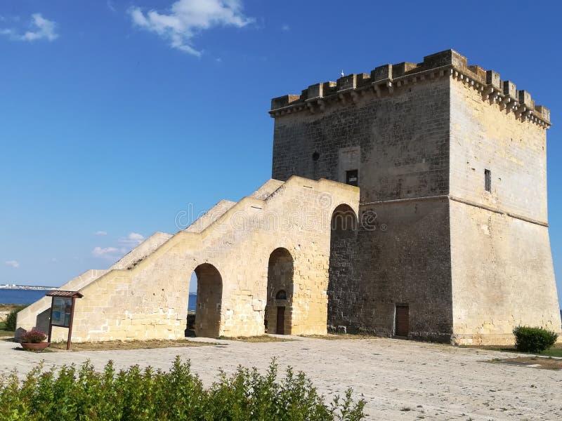 Torre Lapillo in Porto Cesareo in de provincie van Lecce Salento stock afbeeldingen
