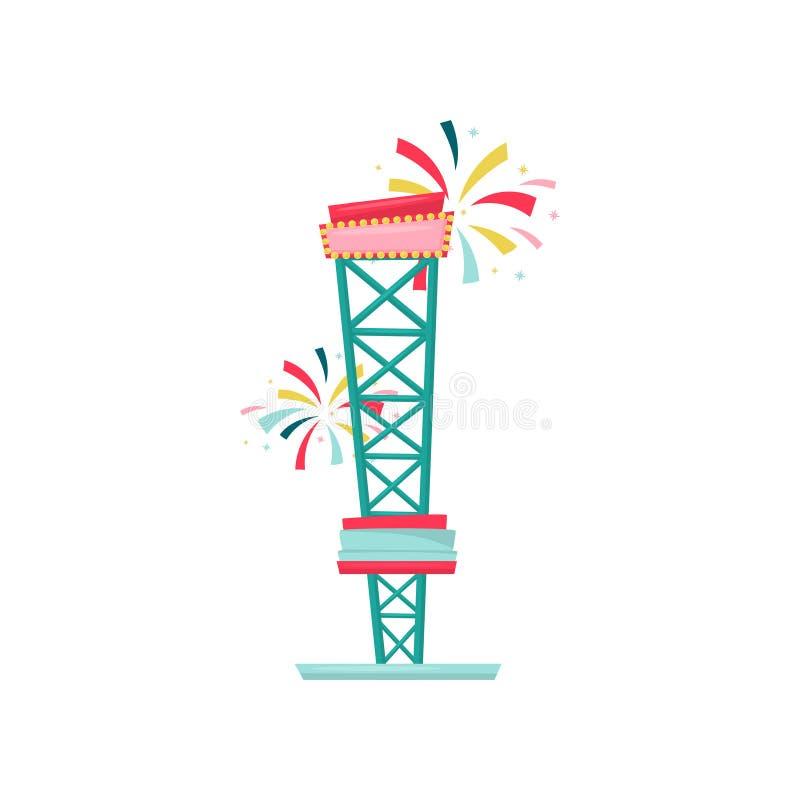Torre libre de la caída o del descenso Atracción extrema del funfair Equipo del parque de atracciones Diseño plano del vector stock de ilustración