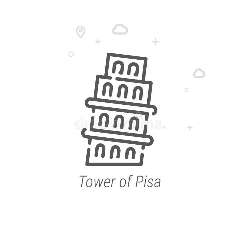 Torre linha ícone do vetor de Pisa, Itália, símbolo, pictograma, sinal Fundo geométrico abstrato claro Curso editável ilustração royalty free