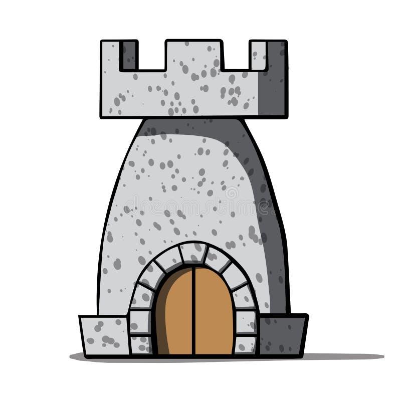 Torre medieval de la historieta. Ejemplo del vector ilustración del vector