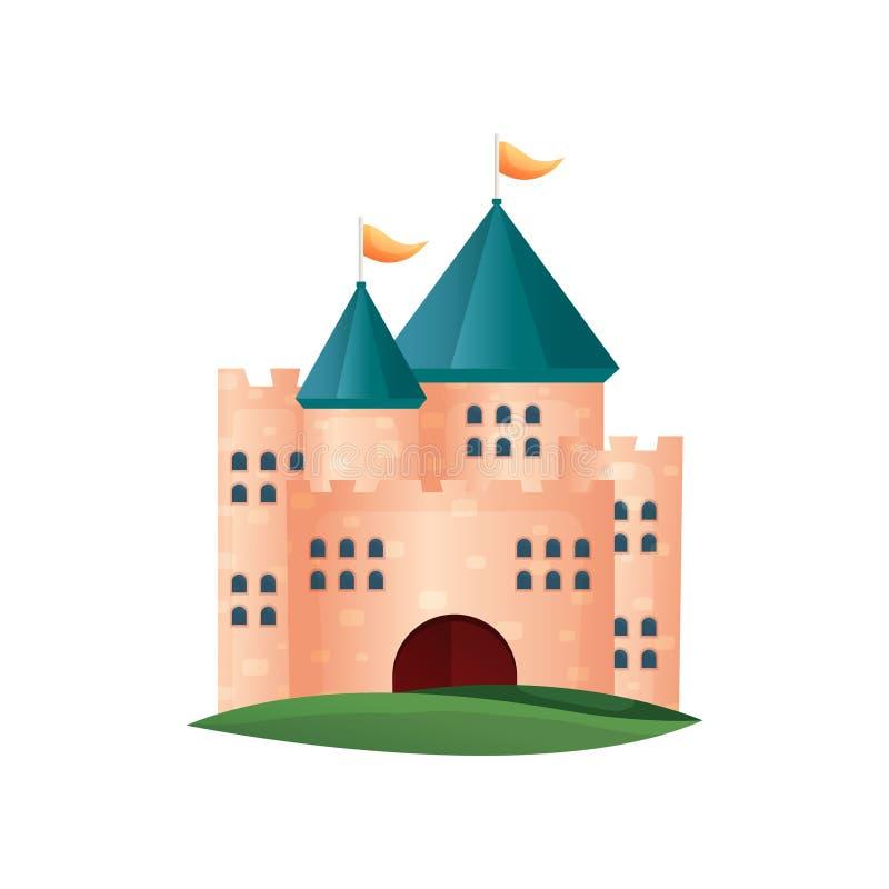 Torre medieval del castillo del ladrillo rojo con las pequeñas ventanas ilustración del vector