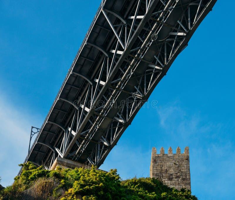 Torre medieval del puesto de observación en el castillo de Muralha Fernandina con el puente de Dom Luiz I en Oporto, Portugal, Eu fotos de archivo libres de regalías