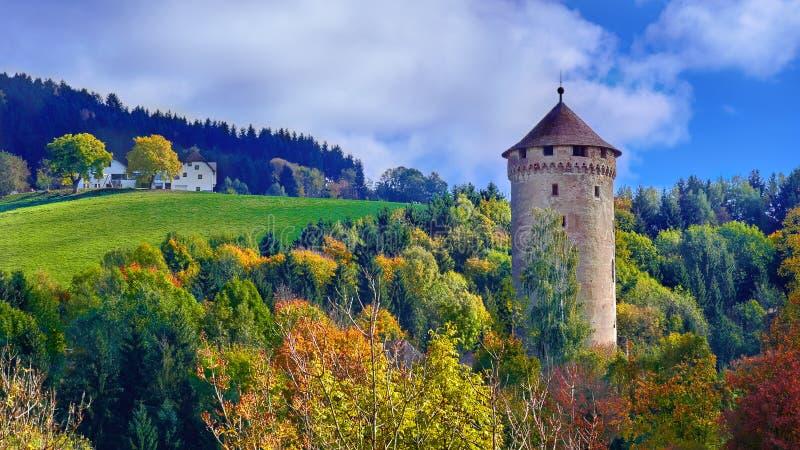 Torre medieval velha do castelo em um monte na floresta em Europa em um dia ensolarado brilhante fotos de stock