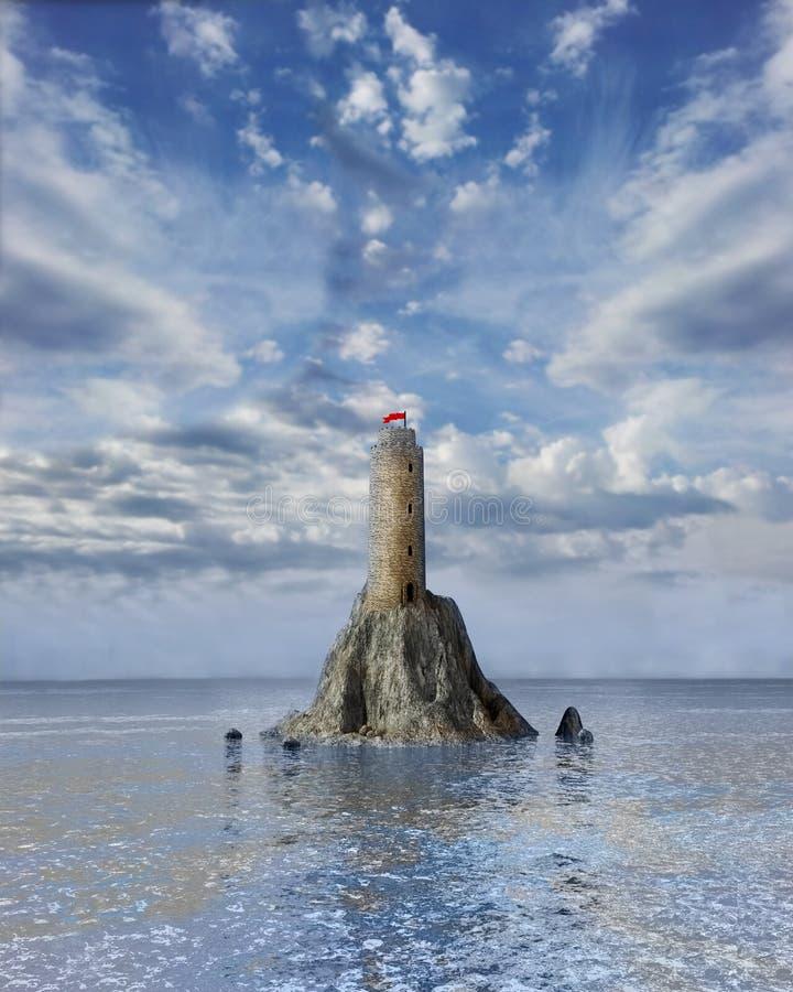 Torre in mezzo all'oceano illustrazione vettoriale